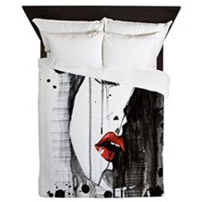 Sexy Woman Watercolor Painting Queen Duvet