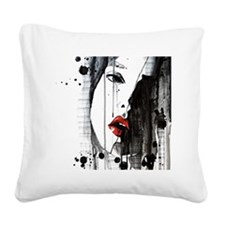 Sexy Woman Watercolor Paintin Square Canvas Pillow