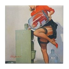Classic Elvgren 1950s Pin Up Girl Tile Coaster