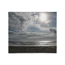 Prayer of St. Francis over beach Throw Blanket