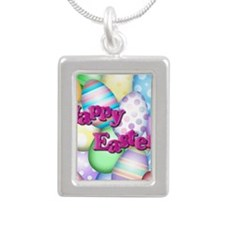 Happy Easter Silver Portrait Necklace