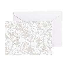 Elegant White Flourish Greeting Card