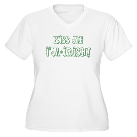 Kiss Me I'm Irish! Women's Plus Size V-Neck T-Shir
