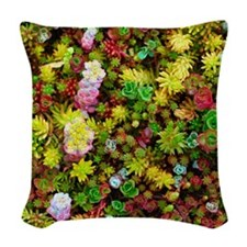 Variegated Floral Succulents Woven Throw Pillow