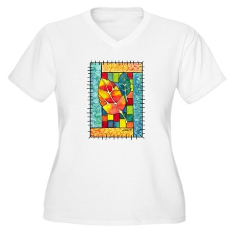 Autumn Quilt Women's Plus Size V-Neck T-Shirt
