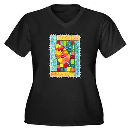 Autumn Quilt Women's Plus Size V-Neck Dark T-Shirt