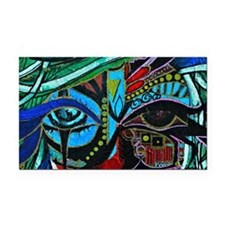Warrior Vision Colorful Abstr Rectangle Car Magnet