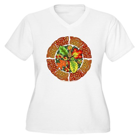 Celtic Autumn Leaves Women's Plus Size V-Neck T-Sh