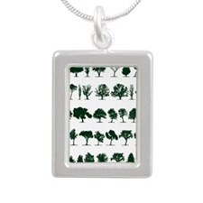 Tree Silhouettes Green 1 Silver Portrait Necklace