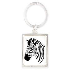 Zebra Head Portrait Keychain
