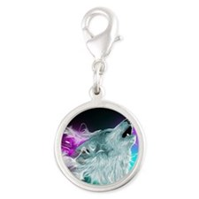 Northern Lights Wolf Spirit Silver Round Charm