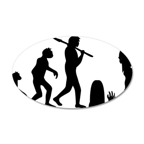 zombie_evolution 35x21 Oval Wall Decal