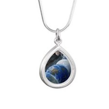 Formation of the Earth,  Silver Teardrop Necklace