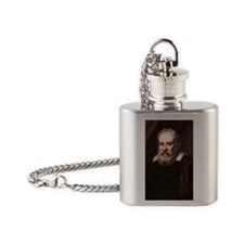 1636 Galileo Galilei portrait astro Flask Necklace