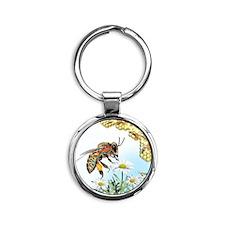 Bee anatomy, artwork Round Keychain