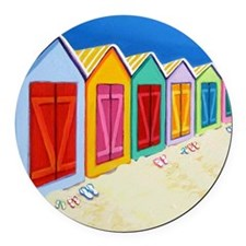 Colorful Beach Cabana Hut Round Car Magnet