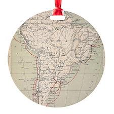 Darwin's Beagle Voyage Map South Am Ornament
