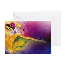 Bacteriophages attacking bacteria Greeting Card