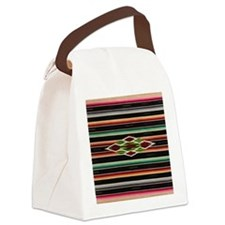 Vintage Black Mexican Serape Canvas Lunch Bag