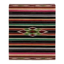 Vintage Black Mexican Serape Throw Blanket
