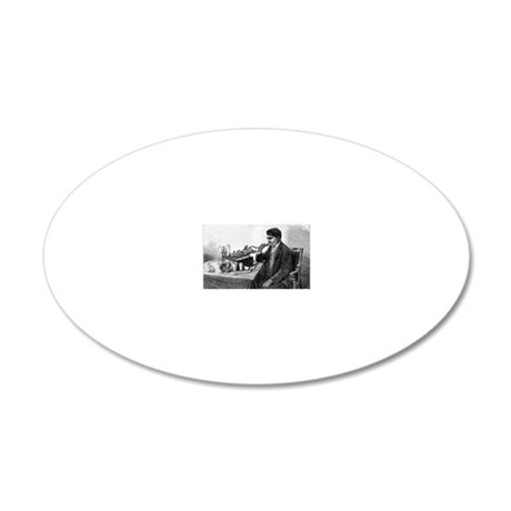 Edison talking into his phon 20x12 Oval Wall Decal