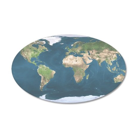World  Map 35x21 Oval Wall Decal