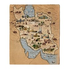 Iran, pictorial map Throw Blanket