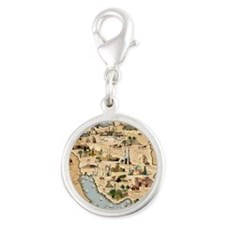 Iran, pictorial map Silver Round Charm