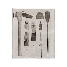 Polynesian artefacts, 18th century Throw Blanket