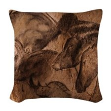 Stone-age cave paintings, Chau Woven Throw Pillow