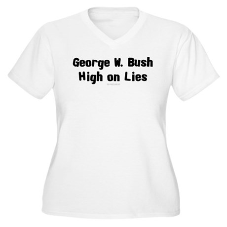 Bush - High on Lies Womens Plus Size V-Neck T-Shi
