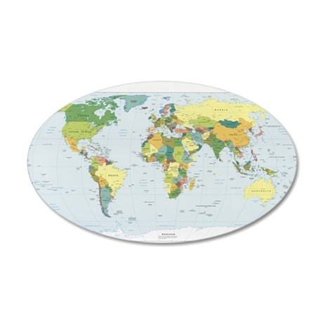 World Atlas 35x21 Oval Wall Decal