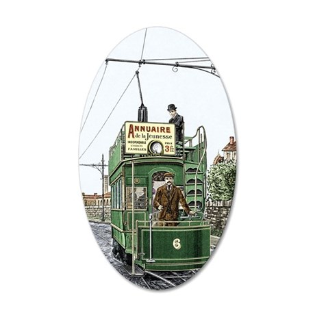 Early electric tram 35x21 Oval Wall Decal