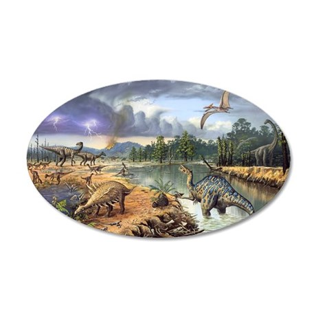 Early Cretaceous life, artwo 35x21 Oval Wall Decal
