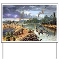 Early Cretaceous life, artwork Yard Sign