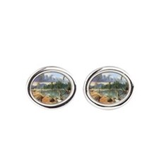 Early Cretaceous life, artwork Cufflinks
