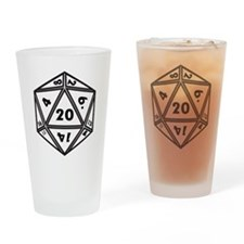 D20 White Drinking Glass