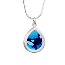 Killer Whale Silver Teardrop Necklace
