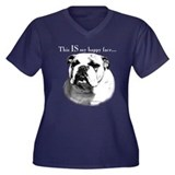 Bulldog Happy Face Women's Plus Size V-Neck Dark T