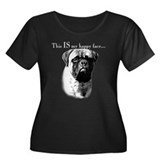 Bullmastiff Happy Face Women's Plus Size Scoop Nec