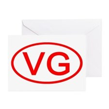 VG Oval (Red) Greeting Cards (Pk of 10)