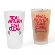 Real Women Can Clean (Pink) Drinking Glass