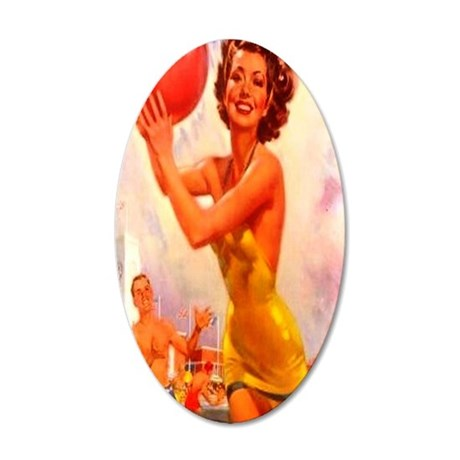 Pretty Beach Girl with Ball 35x21 Oval Wall Decal