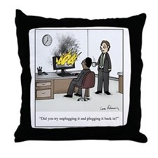 Unplug and plug back in Throw Pillow