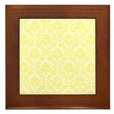 Light Yellow Damask Framed Tile