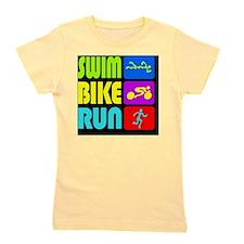 TRI Swim Bike Run Figures Girl's Tee