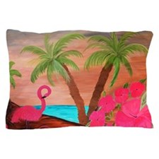 Flamingo in Paradise Art Pillow Case
