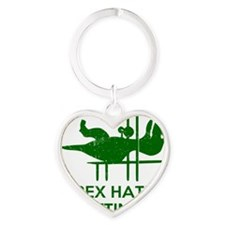 T Rex Hates Lifting Heart Keychain