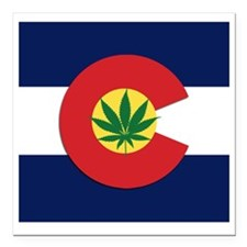 "Colorado State Pot Flag Square Car Magnet 3"" x 3"""