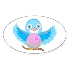 Bluebird Of Happiness Oval Decal